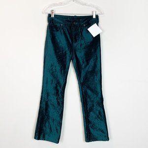 Free people | hi rise velvet trousers teal green